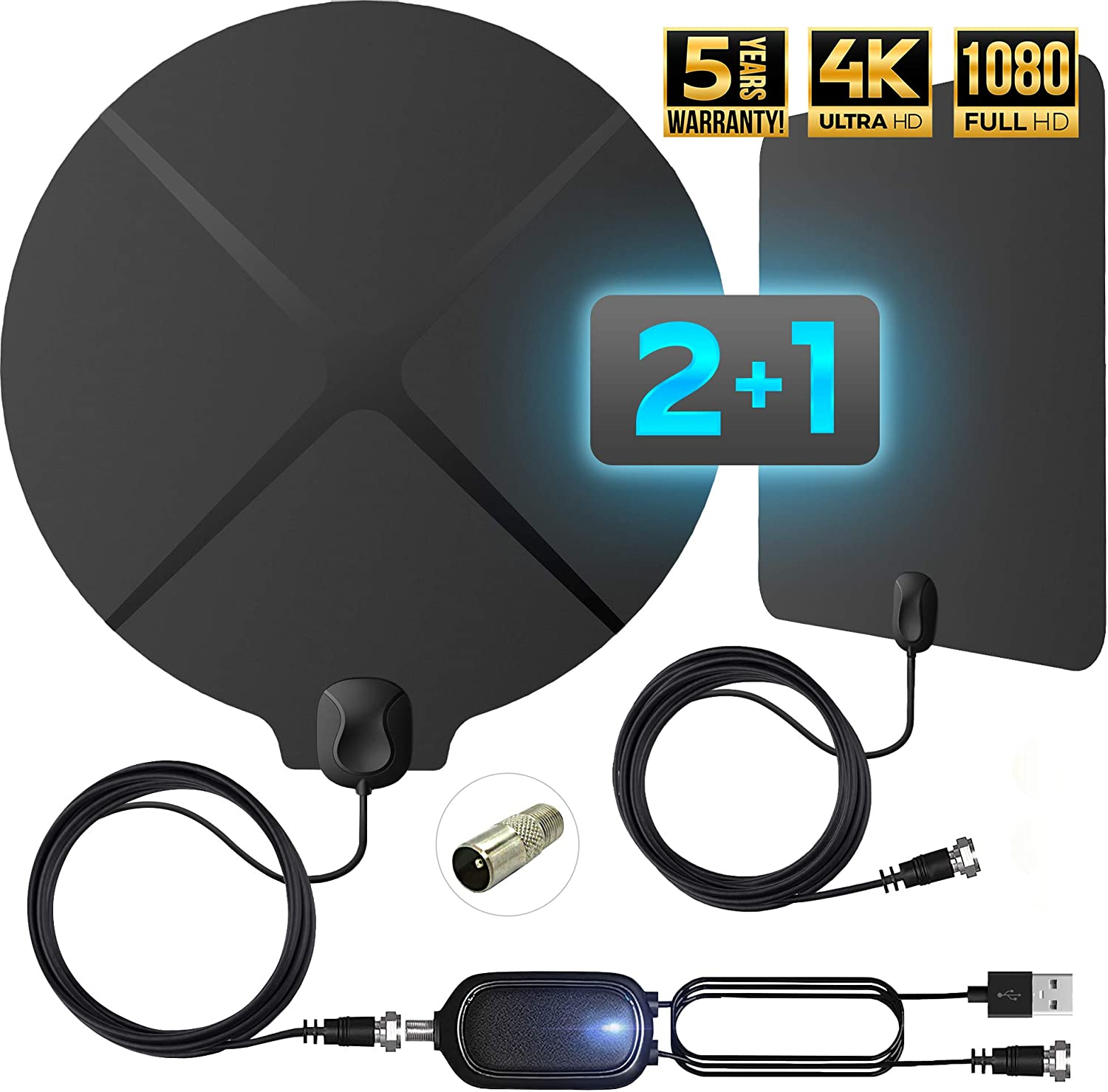 Digital TV Antenna Indoor Amplified - Support 4K 1080p 65-120 Miles Range - HD Antenna for TV - Freeview Local HDTV Channels with Amplifier Signal Booster 4K [2020 Version]