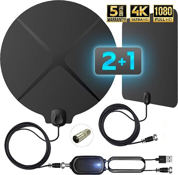 Soporte de Canales Locales Gratuitos 4K Apto para Todos los Tipos de TV Antena de Televisi/ón Antena TV Interior HDTV 2020 con Amplificador de Se/ñal Alcance de 190 KM