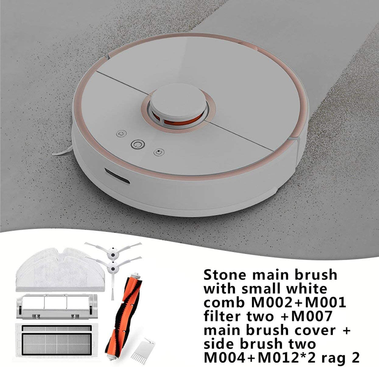 Main Brush Cover Side Brush Blanco 2PCS Filter Net Main Brush Mop Cloth para Xiaomi Roborock Robot Aspirador