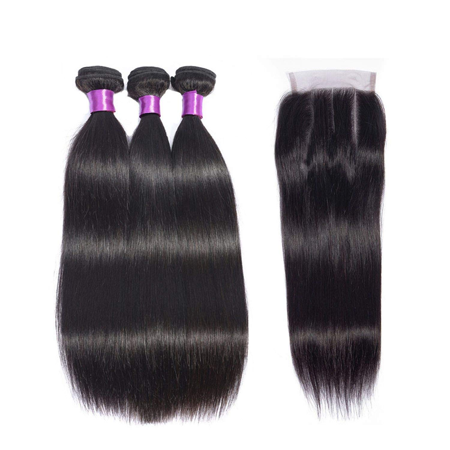 Brazilian Straight Hair Bundles With Closure Natural Color Human Hair 3 Bundles With Lace Closure Human Hair Extensions,14 14 14 with 12,Free Part by Little-Kiwi