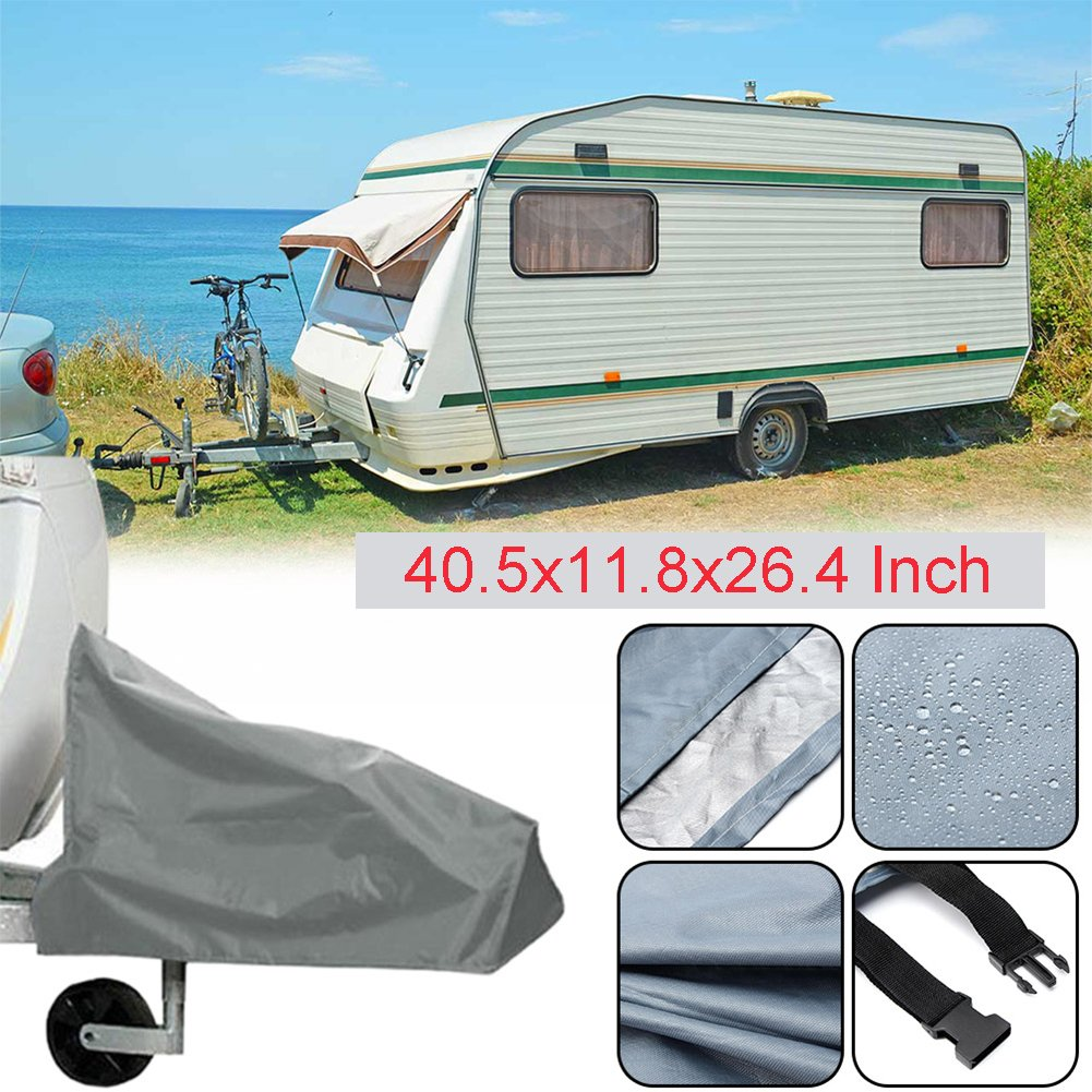 Silvotek Universal Caravan Hitch Cover - Waterproof Tow Hitch Cover with Durable 210D Material, Grey Trailer Hitch Covers (Size:40.5x11.8x26.4 Inch) SYITECH