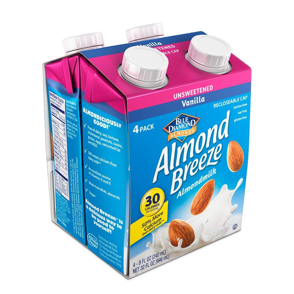 Almond Breeze Dairy Free Almondmilk, Unsweetened Vanilla, 8 Ounce (Pack of 4)