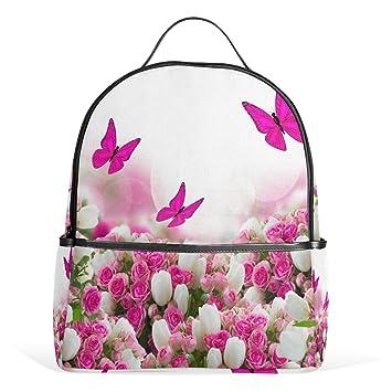 COOSUN Rosas Mariposas Flores de los Tulipanes Mochilas Escolares Mochilas para Las Muchachas de los niños Multi: Amazon.es: Equipaje