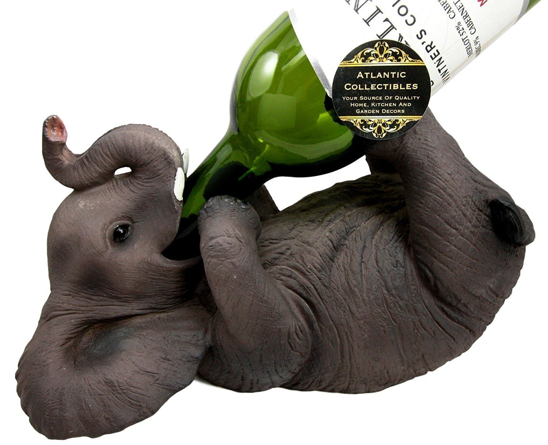 Ebros Kitchen Decor Playful Safari Elephant Wine Bottle Holder Figurine Animal Savanna Oil Wine Valet Storage With Pachyderm Elephant Theme by Ebros Gift (Image #1)