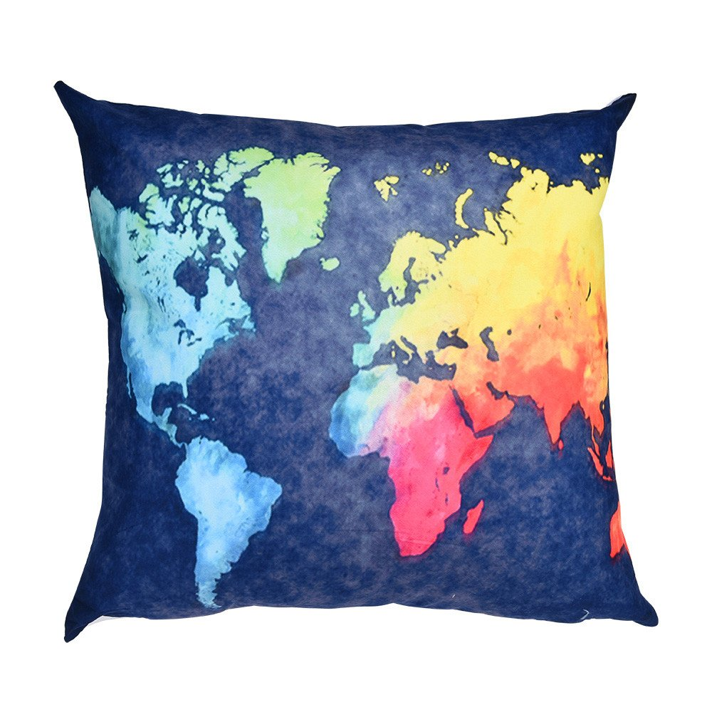 Makeupstore Fashion Standard Size Zippered Pillow Covers Pillowcases Floral Jacquard Print Blue Yellow hues Decorative Square Throw Pillow Cover for Home Sofa Bedding Bed Car Seats Decor