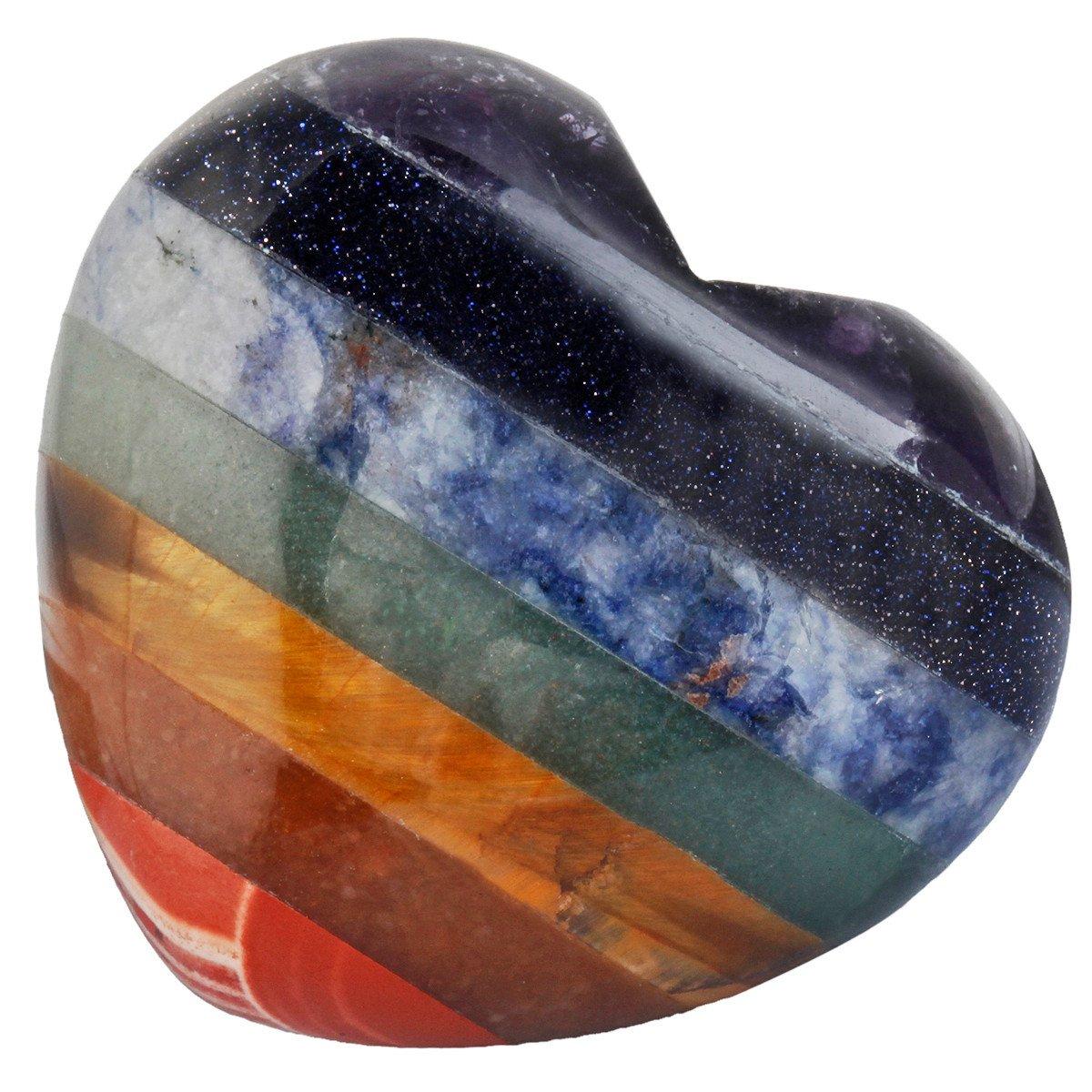 mookaitedecor Healing Crystals Heart Love Worry Palm Stone Reiki Balancing 1.6 inches,7 Chakta Stone