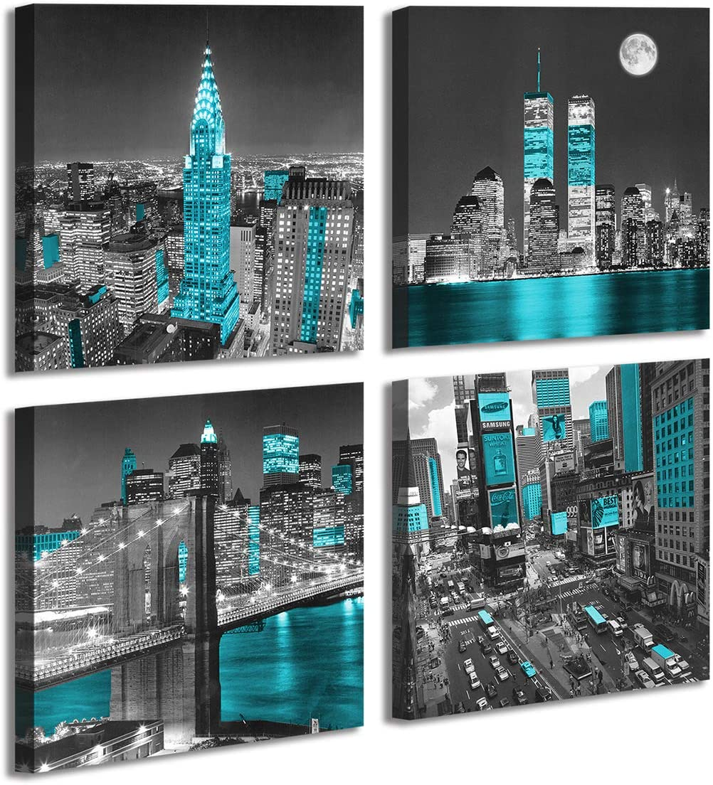 New York City Canvas Wall Art Print Black and White Brooklyn Bridge,Blue Empire State Building Wall Art Night Scene Modern Giclee Artwork for Office Home Decor 12x 12 inch