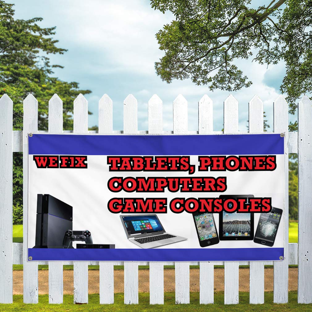 28inx70in Phones Computers Game Consoles Style U Retail White Vinyl Banner Sign We Fix Tablets 4 Grommets Set of 2 Multiple Sizes Available