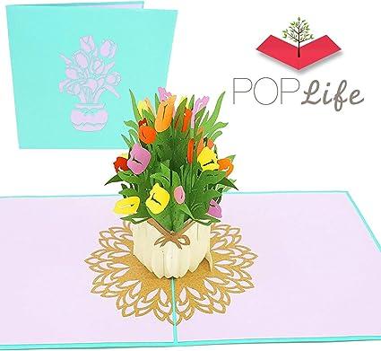 Mazzo Di Fiori Di Primavera.Poplife Cards Mazzo Di Fiori Di Primavera Tulipano 3d Biglietto Di