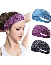 GoHZQ 4 Stück Frauen Sport Stirnband Anti Rutsch elastische Sport Stirnband Sport Wicking Stirnband kommt mit Cross Design Frauen Schweißband absorbierende Feuchtigkeit für Yoga, Reiten, Basketball