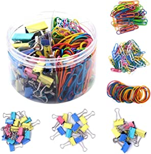Paper Clips Binder Clamps Rubber Bands Assorted Sizes 240 Count Jumbo Large Medium Small for Office Home School Classroom DIY Craft Paperwork Supplies