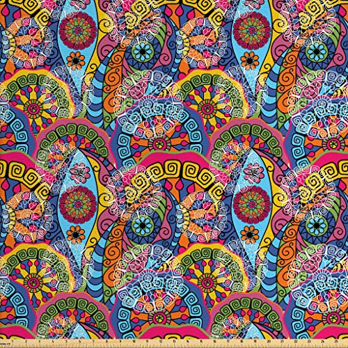 Ambesonne Mandala Fabric by The Yard, Colorful Abstract Sixties Inspired Pattern Flower Design with Stripes Lines, Decorative Fabric for Upholstery and Home Accents, 1 Yard, Pale Blue (Colorful Fabric Upholstery)