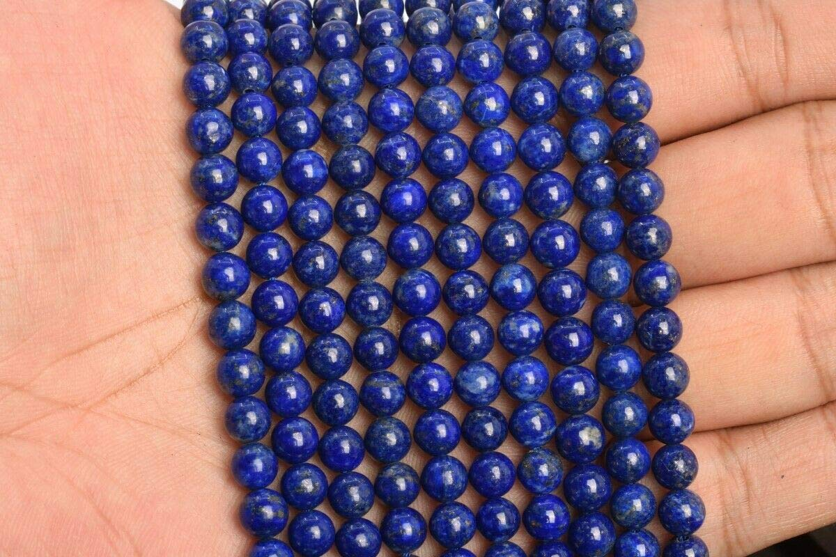 6MM Genuine Natural Dark Blue Lapis Lazuli Bead Afghanistan AA Round Beads 7.5 nvKE-7426