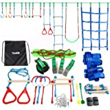 Ninja Warrior Obstacle Course for Kids - Ninja Slackline 52' with 11 Accessories for Kids, Includes Swing, Obstacle Net ,Rope