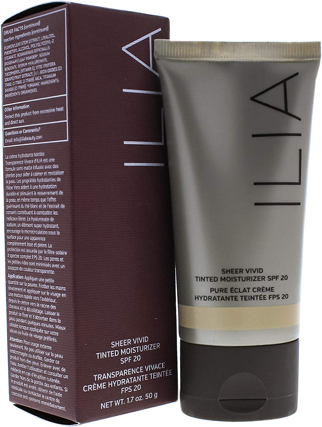 ILIA Beauty Sheer Vivid Tinted Moisturizer SPF 20, No. T2 Belle Mare, 1.7 Ounce