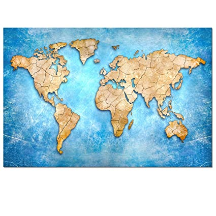 Abstract Map Of The World.Amazon Com Abstract Map Of World Wall Decor World Map Canvas
