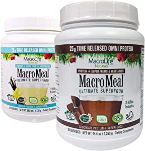 MacroMeal Omni Superfood Powder to The People Bundle - Time-Release Protein Blend, Greens, Digestive Enzymes, Fiber, Energy, 1 Chocolate x 39.5oz (28 Servings) + 1 Vanilla x 39.5oz (28 Servings)