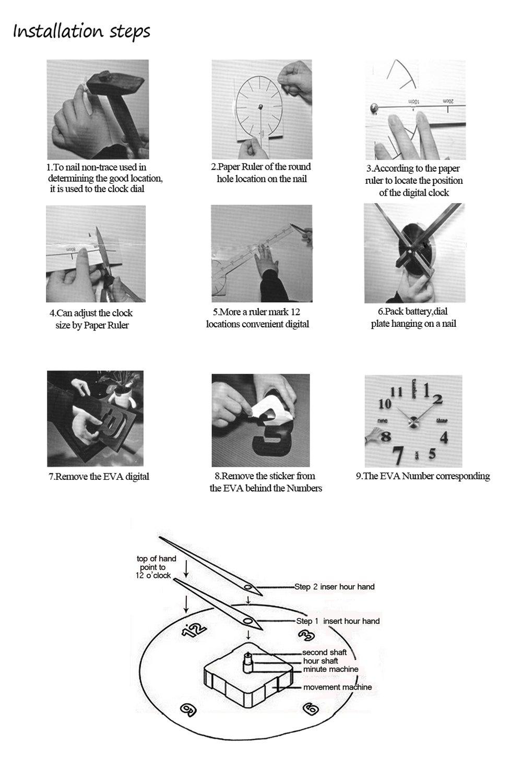 Horleora DIY Wanduhr Ohne Tickgeräusche 3D Modern Design Acryl Spiegel  Metall Rahmenlose Wandaufkleber Groß Uhren Style Raum Home Dekorationen  Tolles ...