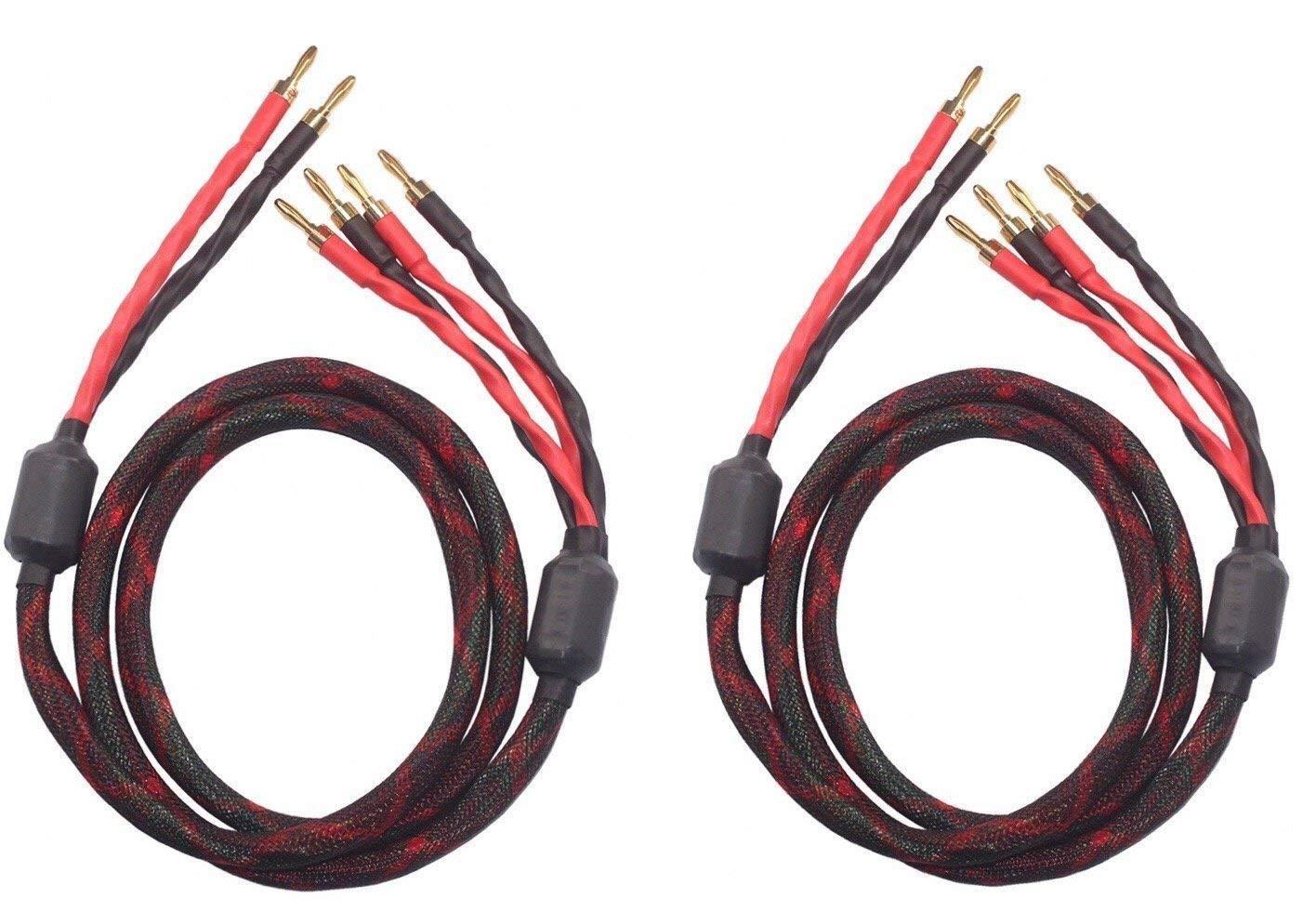 k4B-2B Bi-Wire Speaker Cable (2 Banana Plugs - 4 Banana Plugs), 1pair Set (Total 12banana Plugs), k4B-2B (2.5M(8.2ft)) by KK Cable