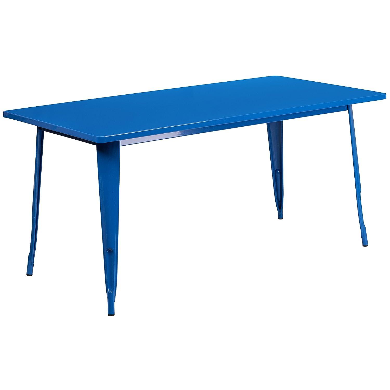 Flash Furniture 31.5'' x 63'' Rectangular Blue Metal Indoor-Outdoor Table