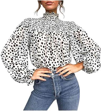 Fashion Femmes Imprimé Léopard froid épaule Tops Femmes manches longues chemisier T-Shirt