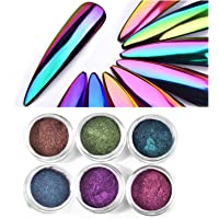 anmas rucci 6 Mixed Color Chameleon Chrome Powder Nails Rainbow Mirror Color for Nail Art