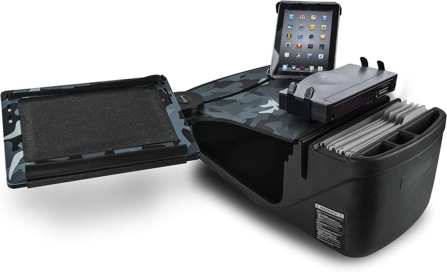 AutoExec AUE10185 Reach Front Seat Car Desk Urban Camouflage Finish with Printer Stand and Tablet Mount