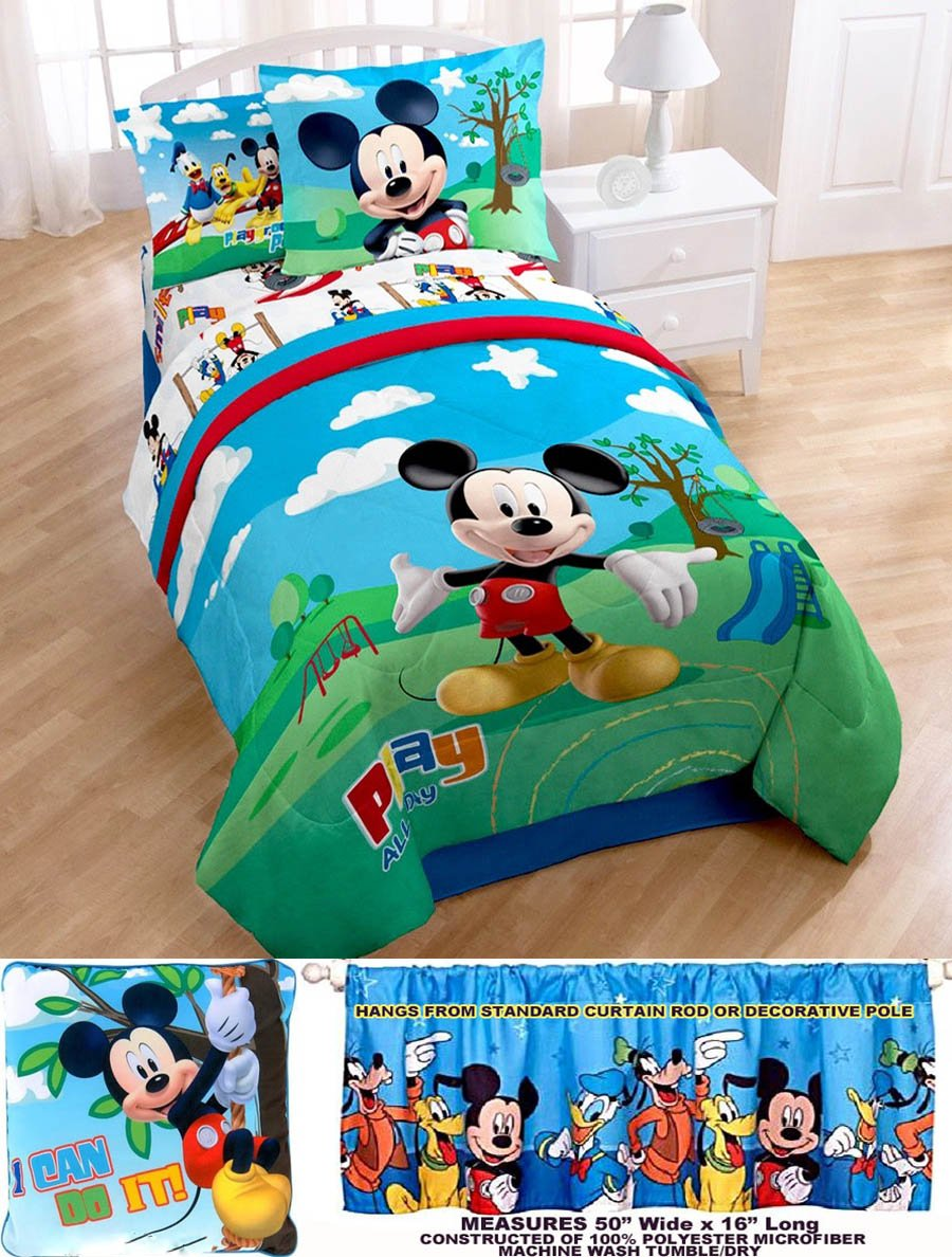 8pc Disney MICKEY MOUSE Club House TWIN SIZE COMFORTER (64'' x 86'') + ONE SHAM + BEDSKIRT + Twin SHEET SET + ONE WINDOW VALANCE (50''W X 16''L each) + ONE TOSS PILLOW (16''W X 16''L)!