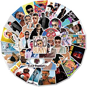 50 Pcs Pop Singer Bad Bunny Stickers, Waterproof Durable Trendy Vinyl Stickers for Laptop Decals Hydro Flask and Water Bottles, Teens and Adults Gifts