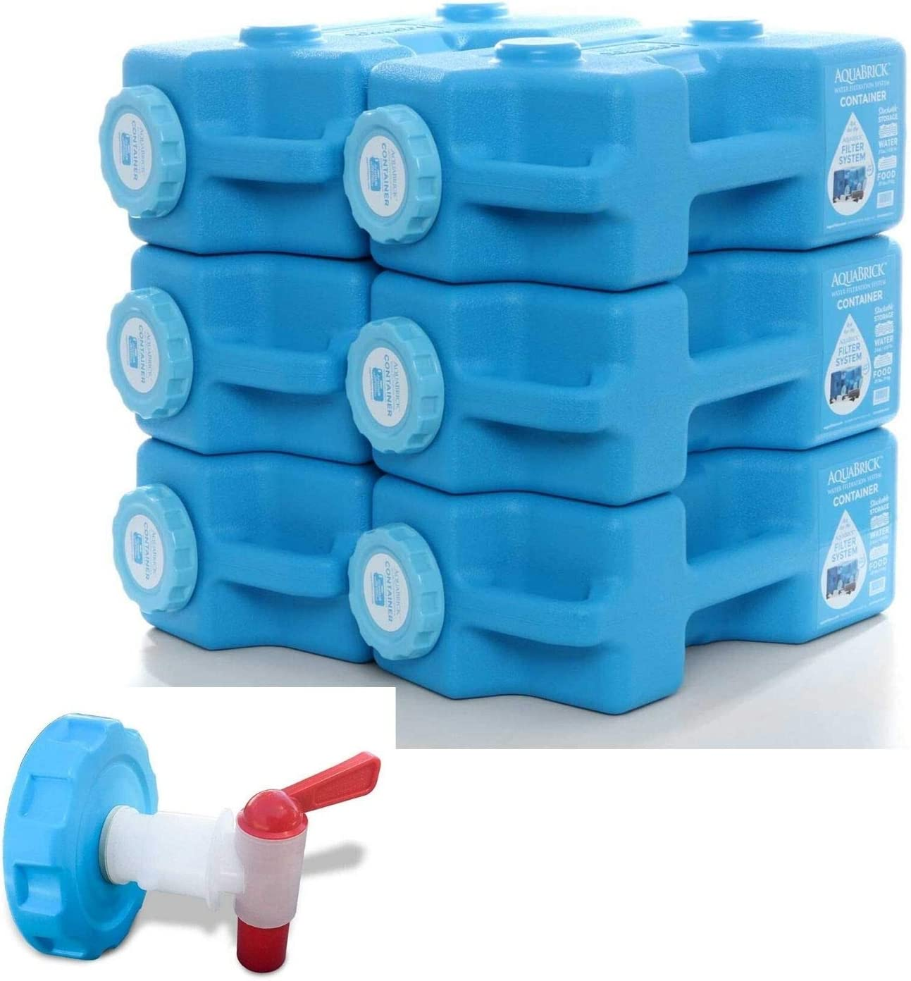 AquaBrick Storage Containers w Ventless Spigot Cap, Portable Stackable Water Storage Containers 3 Gal, Long Term Food Storage Containers 20 lbs, Outdoor Beverage Dispenser, 6 Cont PK + Spigot