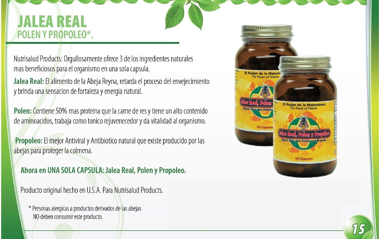 Jalea Real, Polen y Propoleo en UNA sola capsula. Maxima Potencia. Tonico rejuvenecedor, energia Natural, el Mejor antiviral y antibiotico producido por las abejas.Set de 2 frascos con 90 caps. c/u.