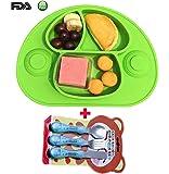 Assiette Bébé Ventouse En Silicone Alimentaire De 2e Génération - Set De Table Pour Enfant, Idéal pour chaise hauteavec vaisselle(vert)
