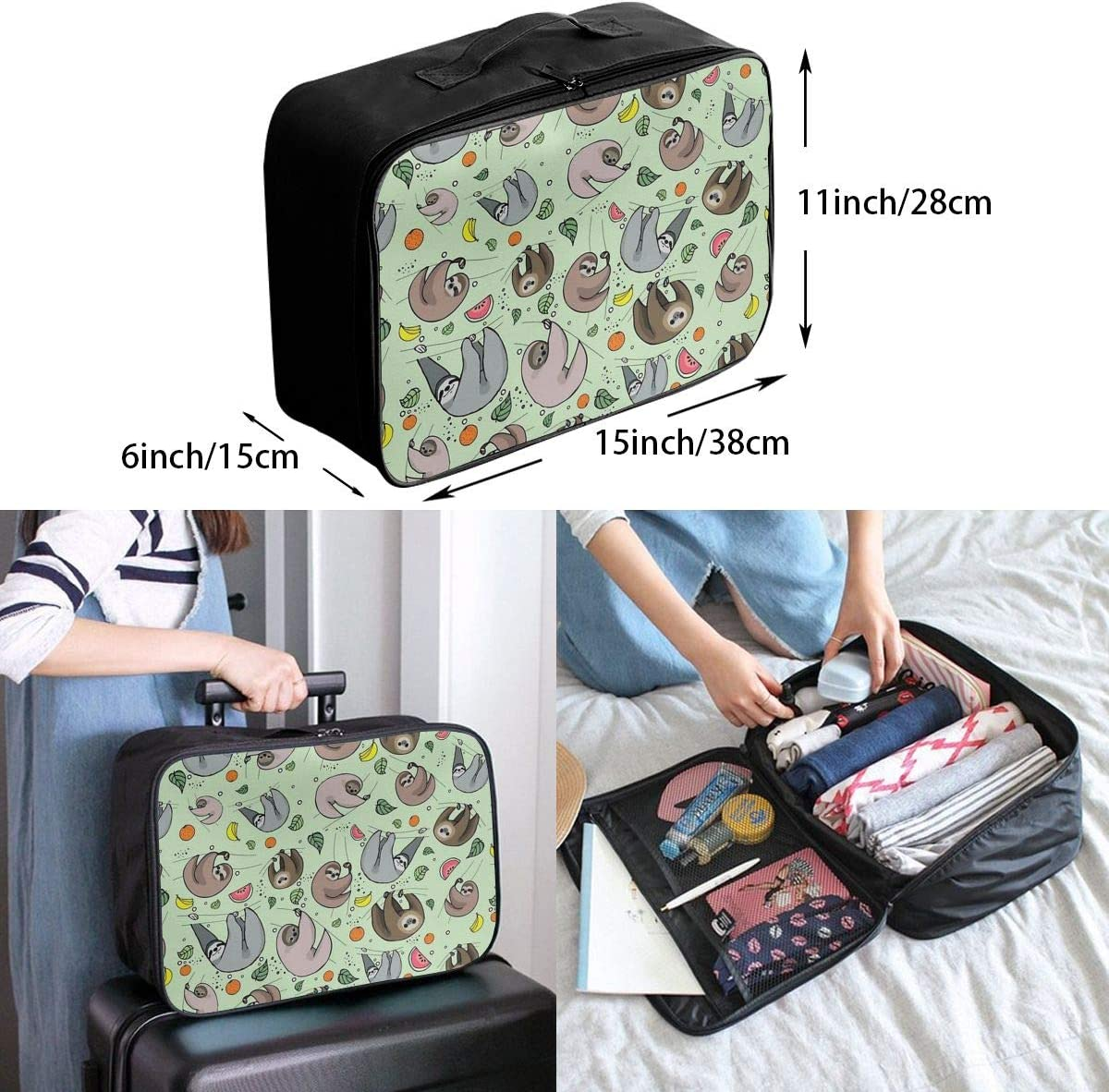 Cartoon Funny Sloth Travel Carry-on Luggage Weekender Bag Overnight Tote Flight Duffel In Trolley Handle