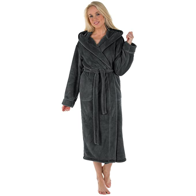 74e4b0ec36 CelinaTex Samos Accappatoio con Cappuccio A Tinta Unita Lungo Tasche  Laterali Donna Uomo Unisex Pile di Sherpa XS-XXXL: Amazon.it: Abbigliamento