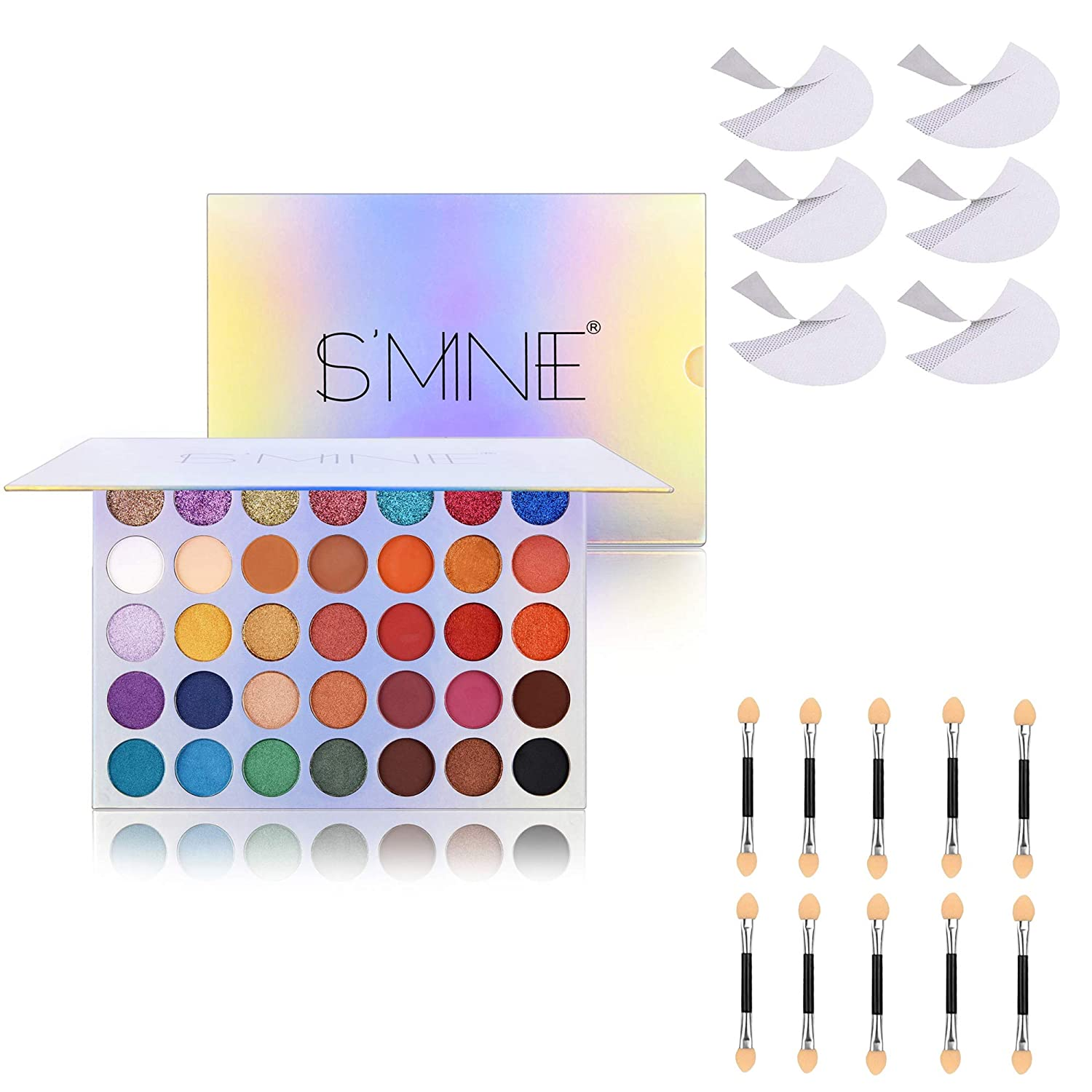 FANICEA Eyeshadow Palette Neutral High Pigmented 35 Colors Mattes Shimmers Long Lasting Waterproof Colorful Blendable Natural Custom Eyes Makeup Kit with Eyeshadow Shield and Sponge Applicators