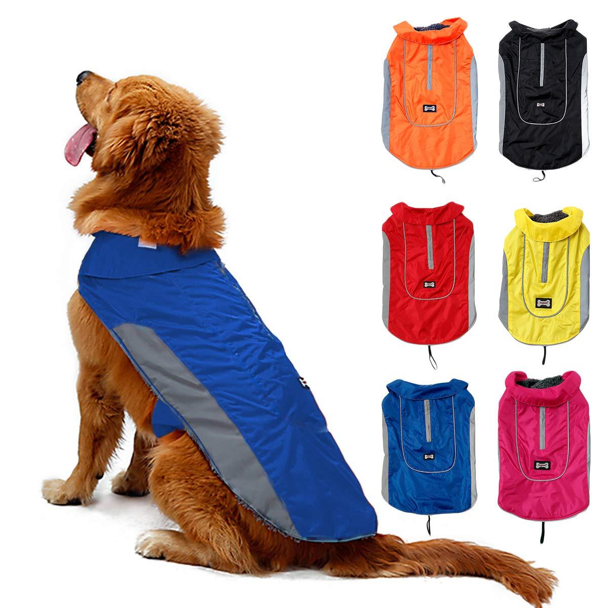 TFENG Reflektierend Hundejacke für Hunde, Wasserdicht Hundemantel Warm Gepolstert Puffer Weste Welpen Regenmantel mit Fleece, Größe XS Bis 3XL Orange) TFENG Inc.