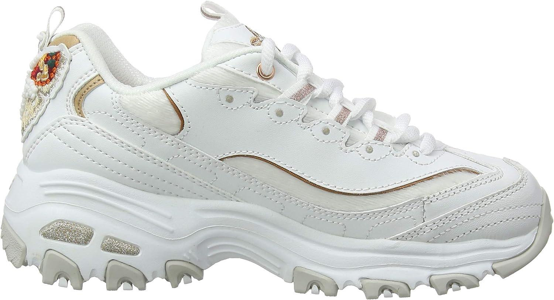 Skechers D\'Lites, Sneaker Donna Bianco White Leather Mesh Rose Gold Trim Wtrg