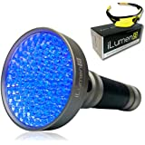 Extra Bright- UV Black Light Flashlight by iLumen8 - 100 HIGH POWER LED's 385-395nm Powerful 35ft Beam Blacklight. Find Dog Cat Pet Urine, Household Hotel Stains, Scorpions. BONUS Safety Glasses