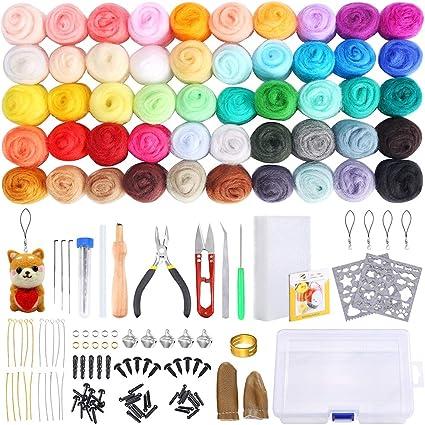 Pp Opount Wool Felt Tools Needle Felting Starter Kit With 10 Random Colors Wool