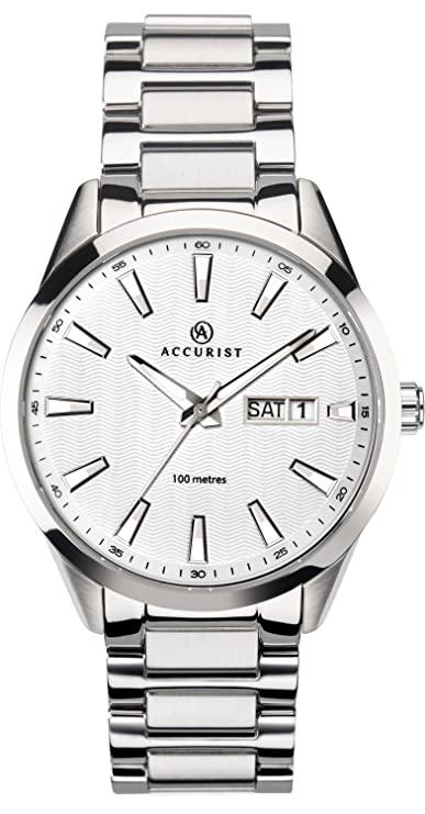 Accurist Gents Analogue Quartz Watch With White Dial And Silver Stainless Steel Bracelet 7218 by Accurist
