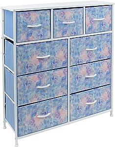Sorbus Dresser with 9 Drawers - Furniture Storage Chest Tower Unit for Bedroom, Hallway, Closet, Office Organization - Steel Frame, Wood Top, Tie-dye Fabric Bins (9-Drawer, Pastel Tye-die)