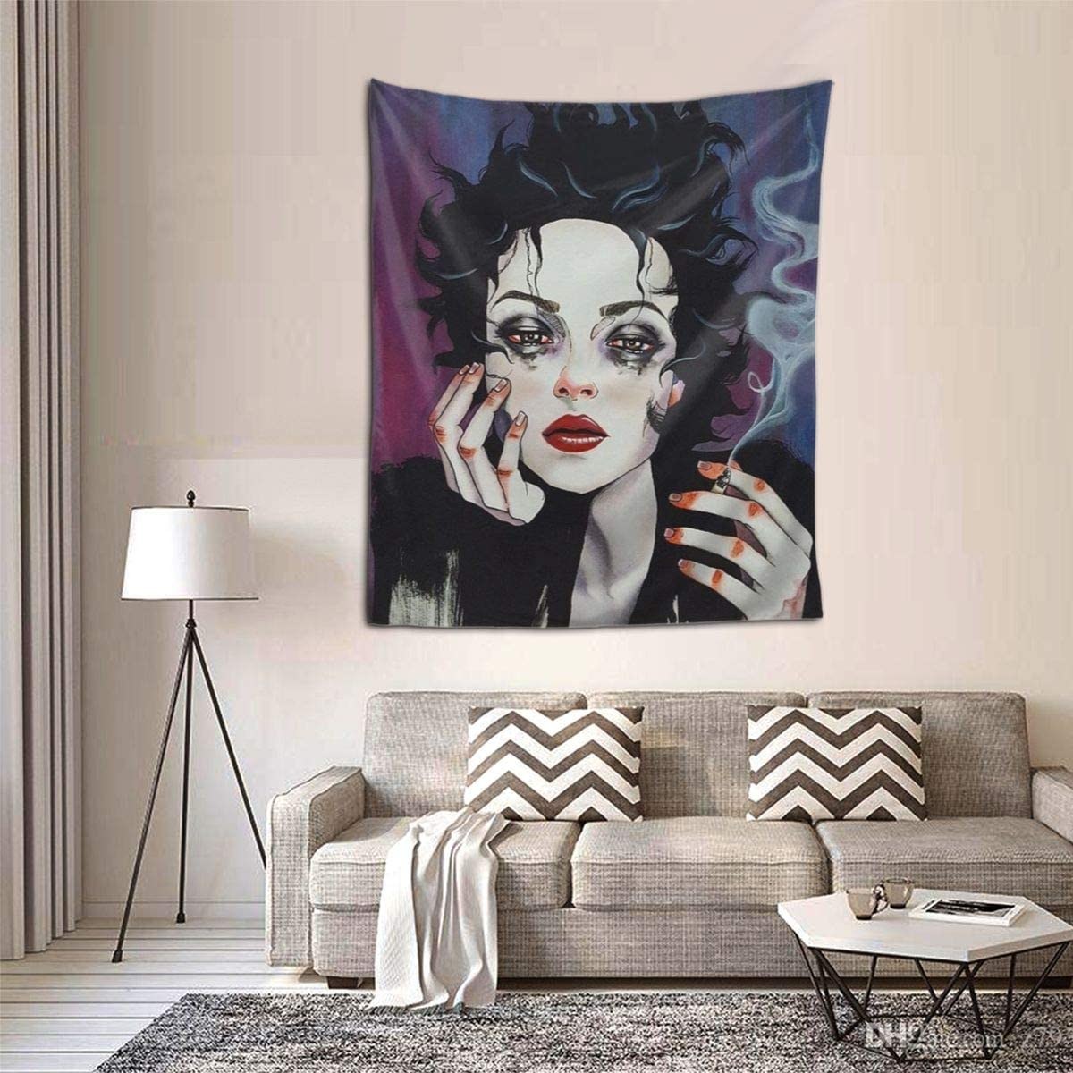 Goth Gothic Smoking Girl Wall Tapestry Hippie Tapestry Wall Hanging Home Decor Extra Large Tablecloths For Bedroom Living Room Dorm Room Everything Else