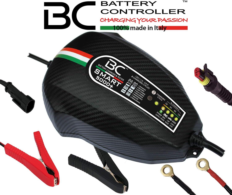 BC Battery Controller BC SMART 5000+, Cargador de baterías y Mantenedor Inteligente para todas las Baterías de Coche y Moto 12V de Plomo-Ácido, 5A/1A: Amazon.es: Coche y moto