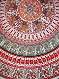 Indian Print Mandala Round Cotton tablecloth 70'' Red