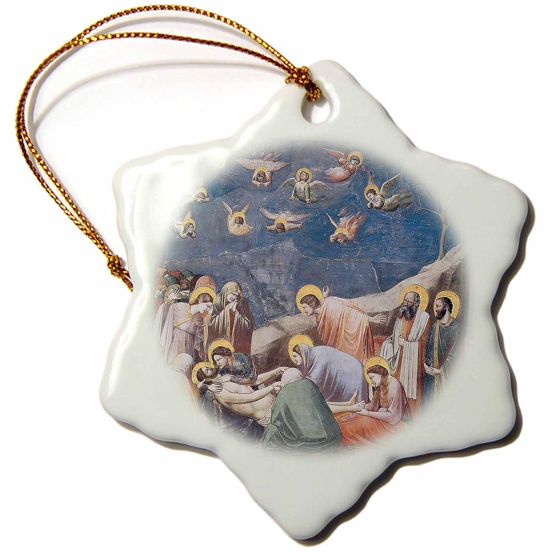 3dRose Lamentation by Giotto Di Bondone Snowflake Ornament 3