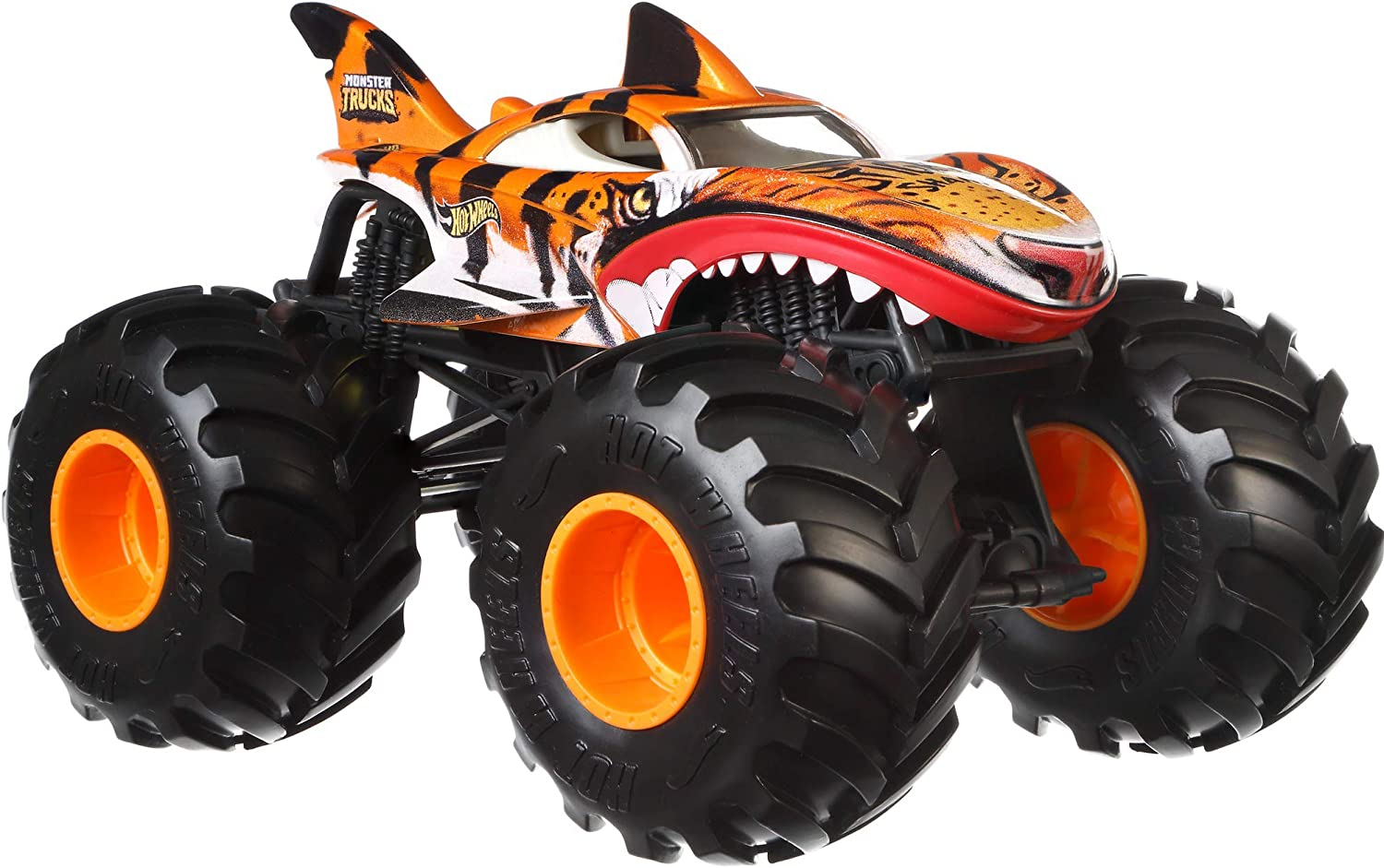 Amazon Com Hot Wheels Monster Trucks Tiger Shark Die Cast 1 24 Scale Vehicle With Giant Wheels For Kids Age 3 To 8 Years Old Great Gift Toy Trucks Large Scales Toys Games