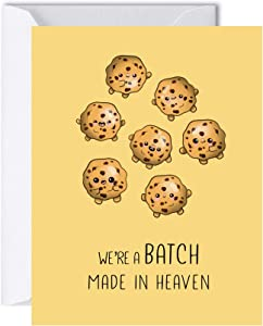 Coffee Valentine's Day Cards for Her Him, Cute Food Anniversary Birthday Gifts for Men Women, Love Greeting Cards (We're A Batch Made In Heaven)