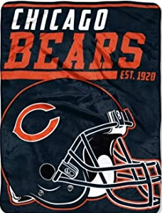 """Officially Licensed NFL Chicago Bears 40 Yard Dash Micro Raschel Throw Blanket, 46"""" X 60"""", Multi Color 50"""" X 60"""""""