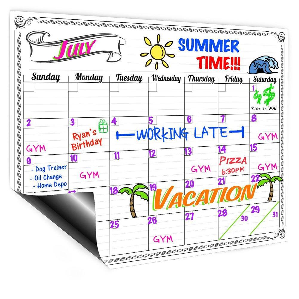 Magnetic Refrigerator Calendar Dry Erase Board Monthly Planner Calendar for Kitchen Fridge 16.5 x 11.8inch Style Random yilan