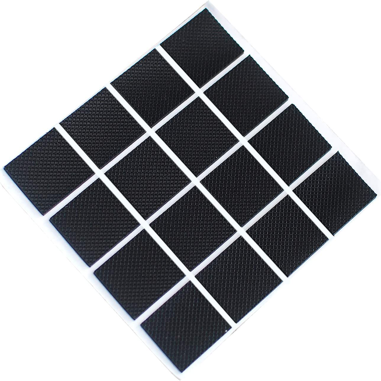 Furniture Pads Anti Slip Furniture Pads Grippers Self Adhesive Rubber Pads Floor Protector for Furniture Stopper on Hardwood Wood Floor,16 Pack,Black (1 inch, Black Square)